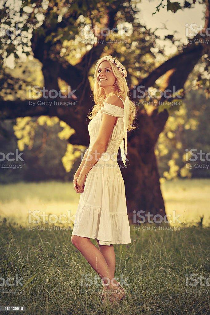 Beautiful blonde angel royalty-free stock photo