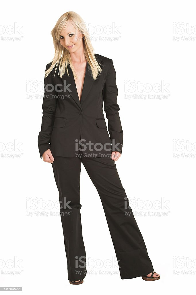 Beautiful blonde businesswoman in black suit royalty-free stock photo
