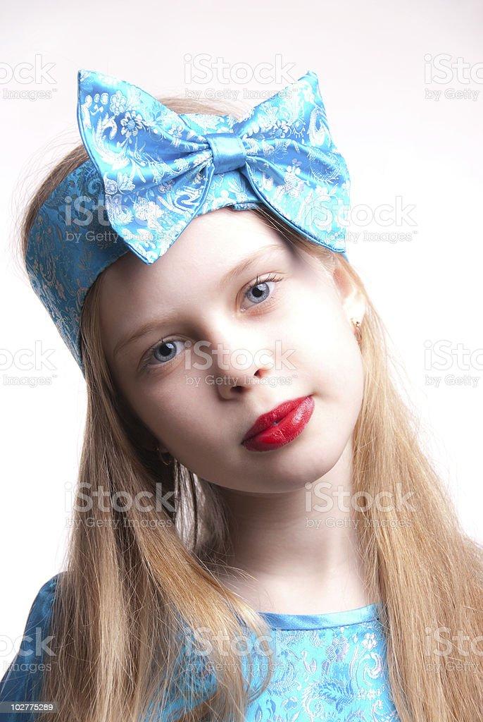 Beautiful blonde girl / child, studio portrait royalty-free stock photo