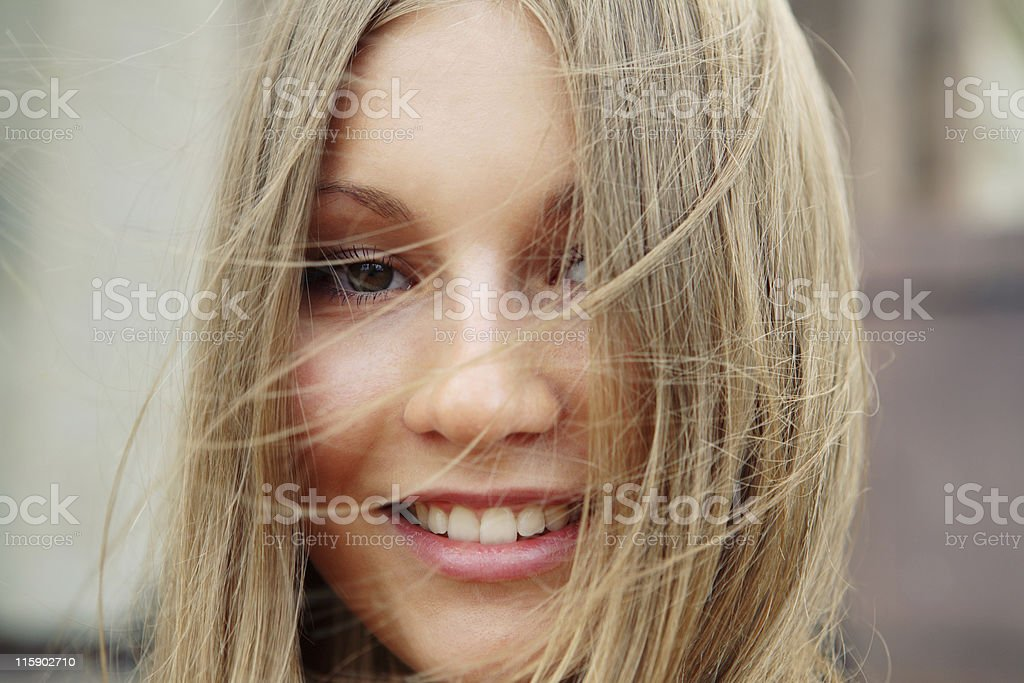 Beautiful blonde girl closeup royalty-free stock photo