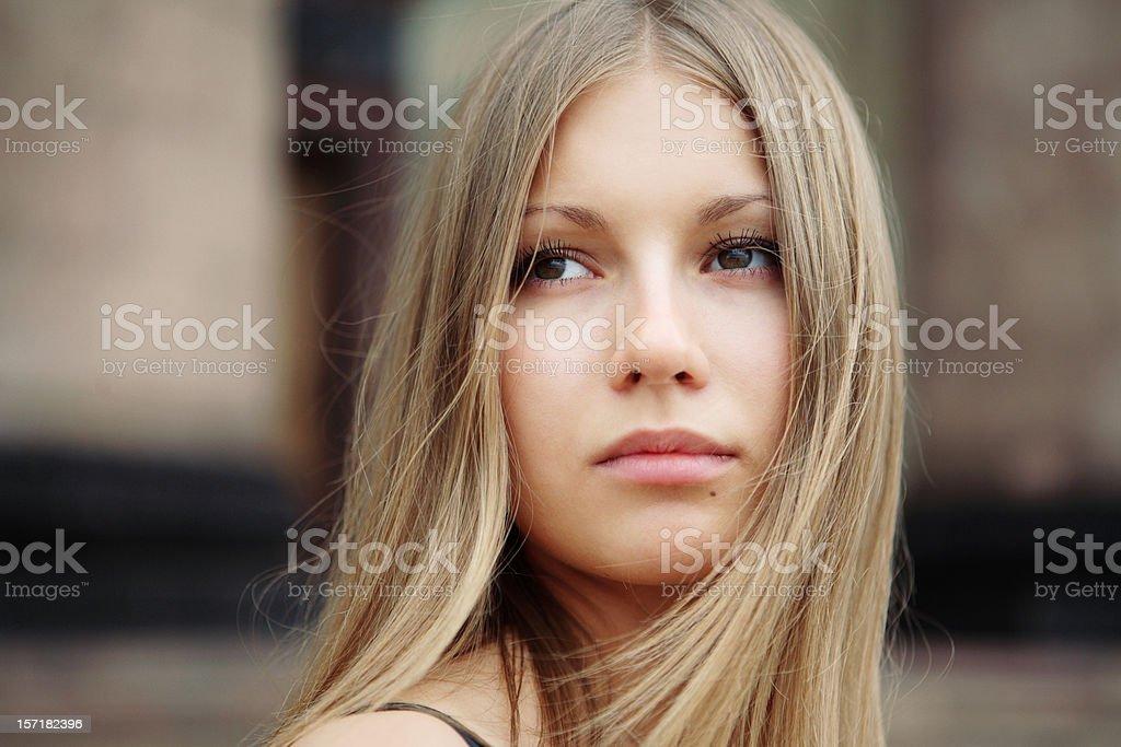 Beautiful blonde girl closeup royalty-free stock photo