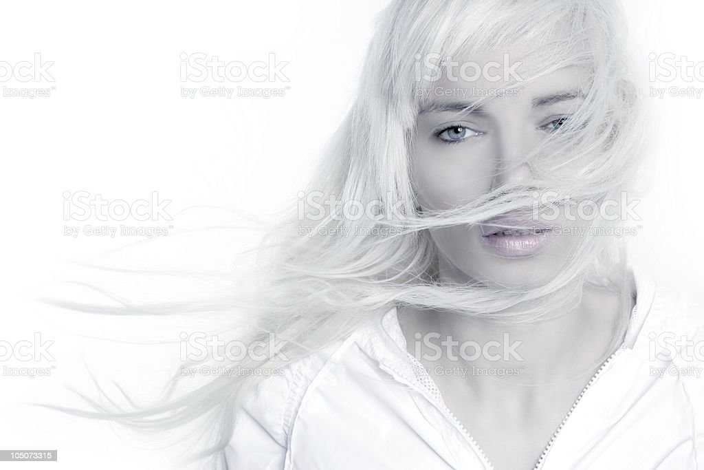 beautiful blonde girl fashion wind long hair over white stock photo