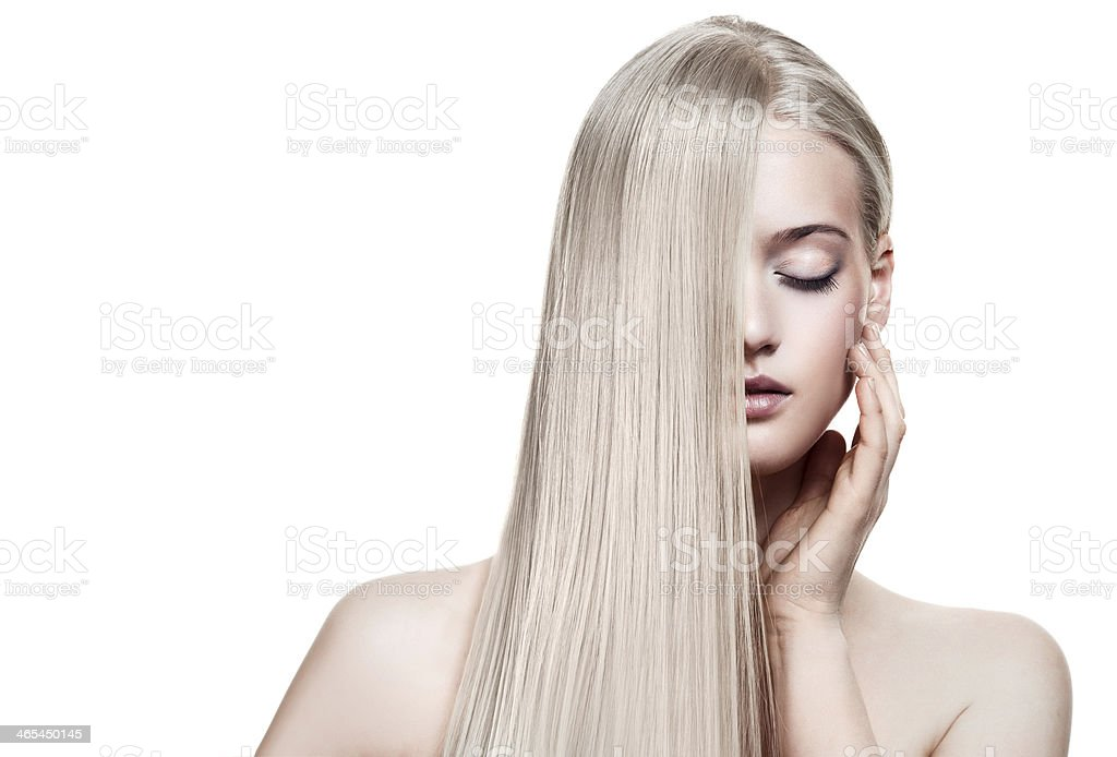 Beautiful Blonde Girl. Healthy Long Hair. Space For Text stock photo