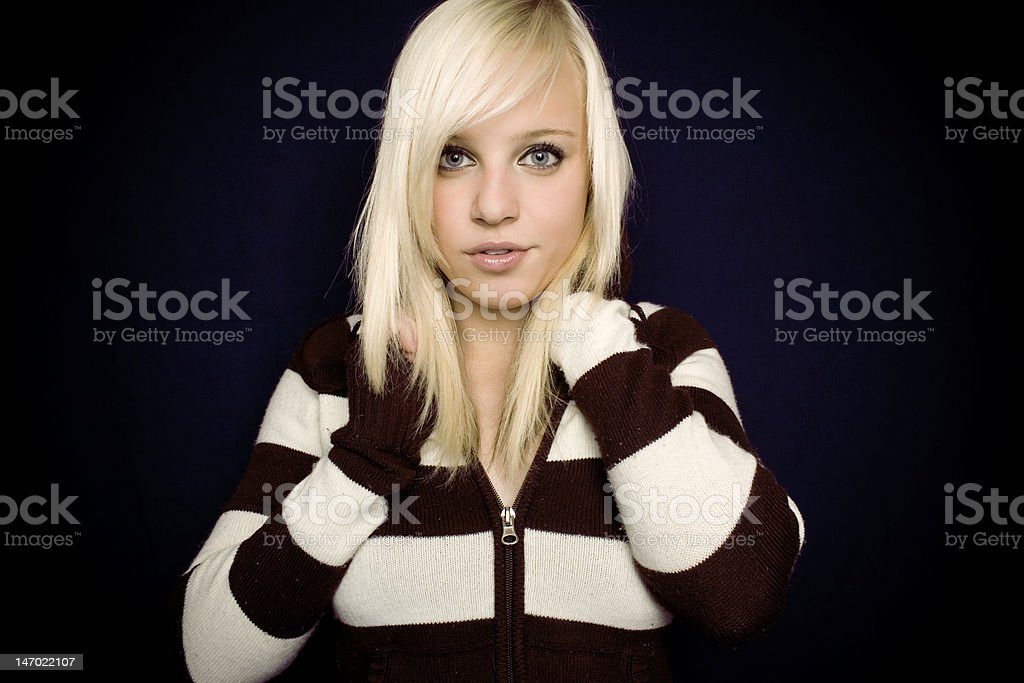 beautiful blonde girl with big eyes and lips royalty-free stock photo