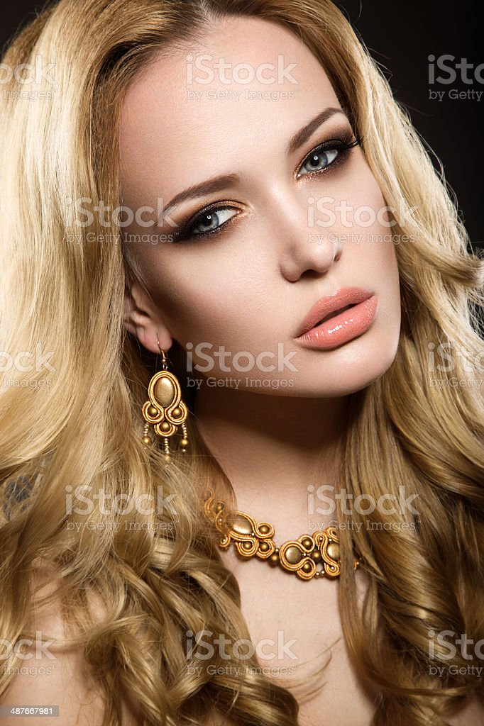 Beautiful blonde girl with perfect skin stock photo