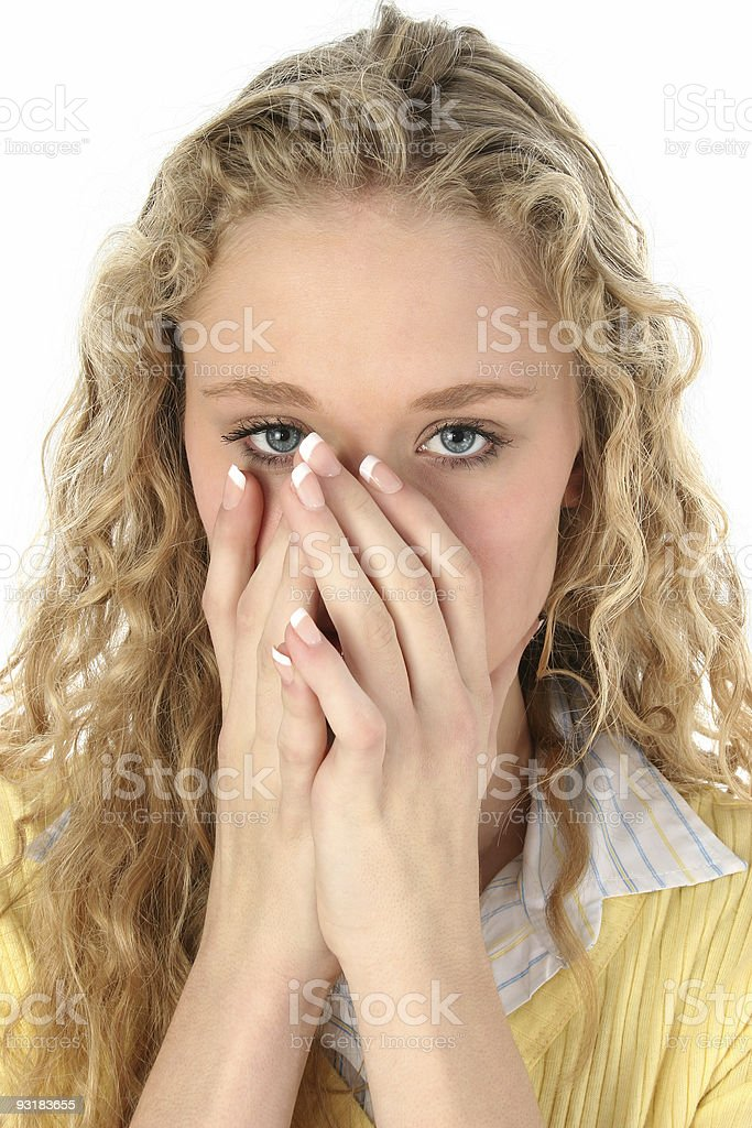 Beautiful Blonde Hiding Mouth stock photo