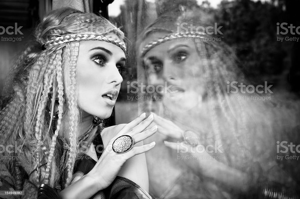 Beautiful blonde in a train royalty-free stock photo