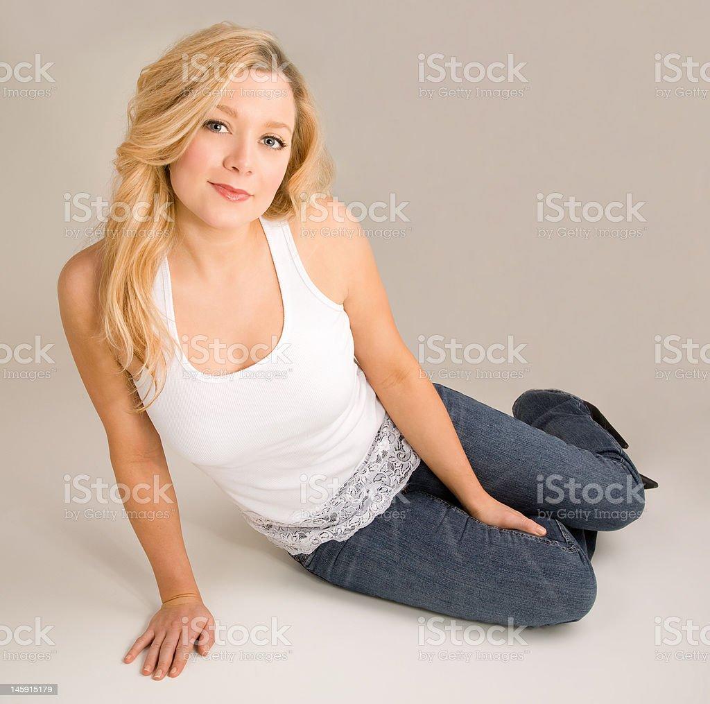 Beautiful Blonde Relaxing royalty-free stock photo