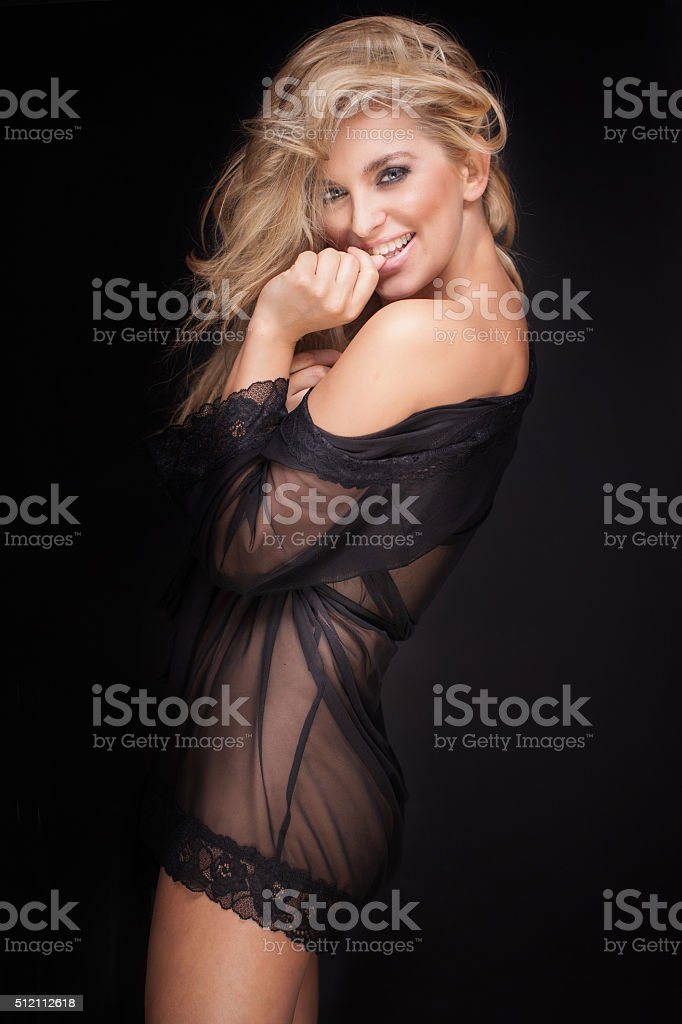 Beautiful blonde sexy woman in lingerie. stock photo