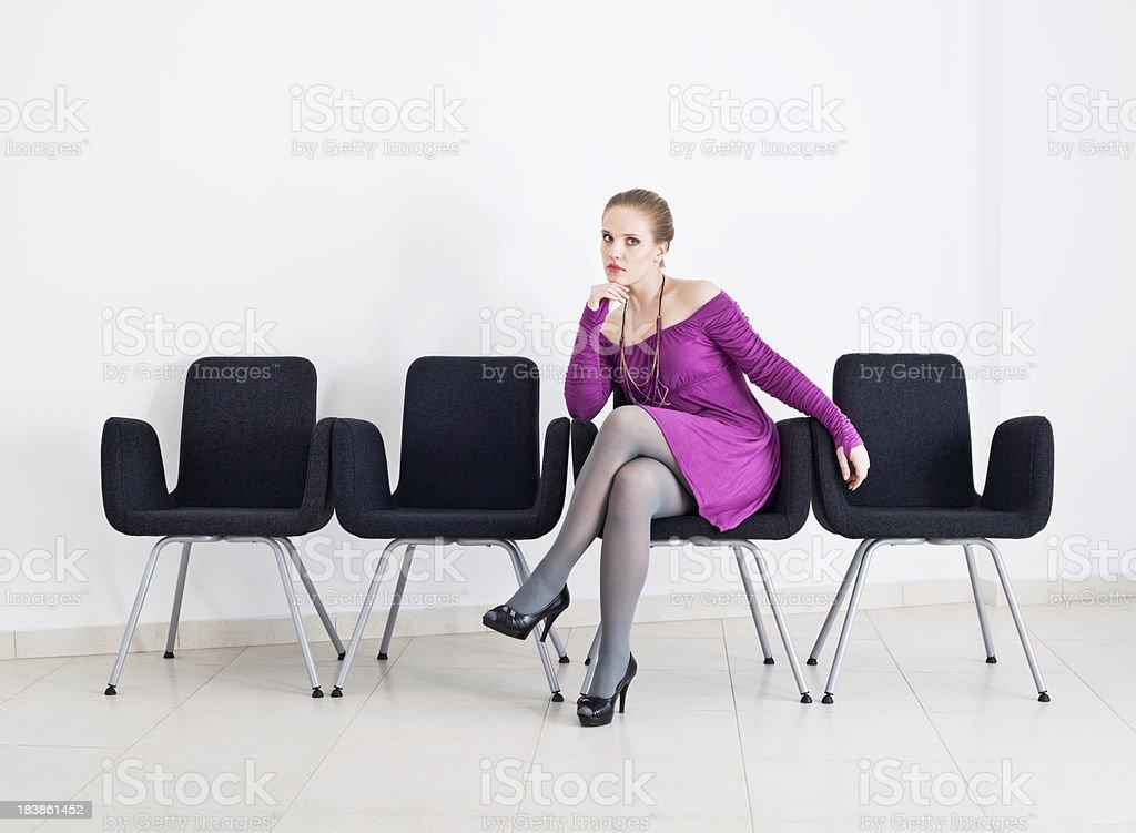 Beautiful blonde waiting stock photo