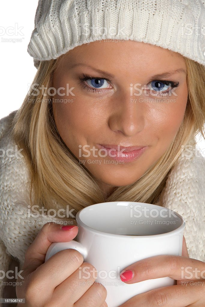 Beautiful blonde with coffee cup royalty-free stock photo