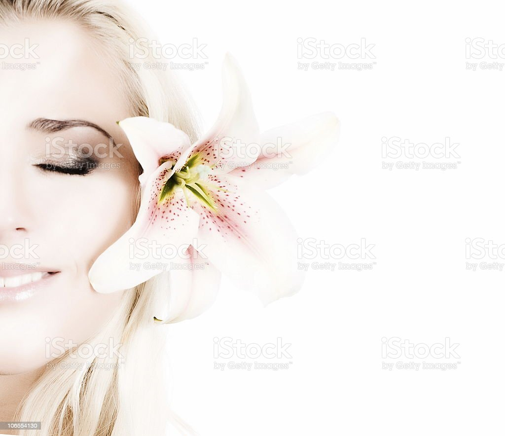 beautiful blonde with flowers royalty-free stock photo