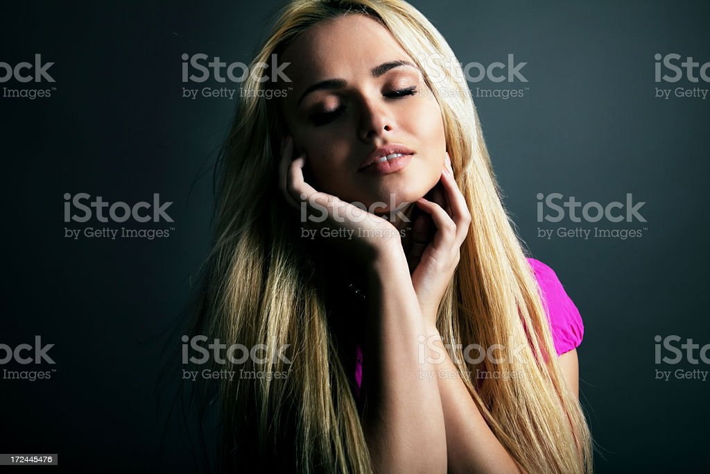 Beautiful blonde with healthy long hair royalty-free stock photo
