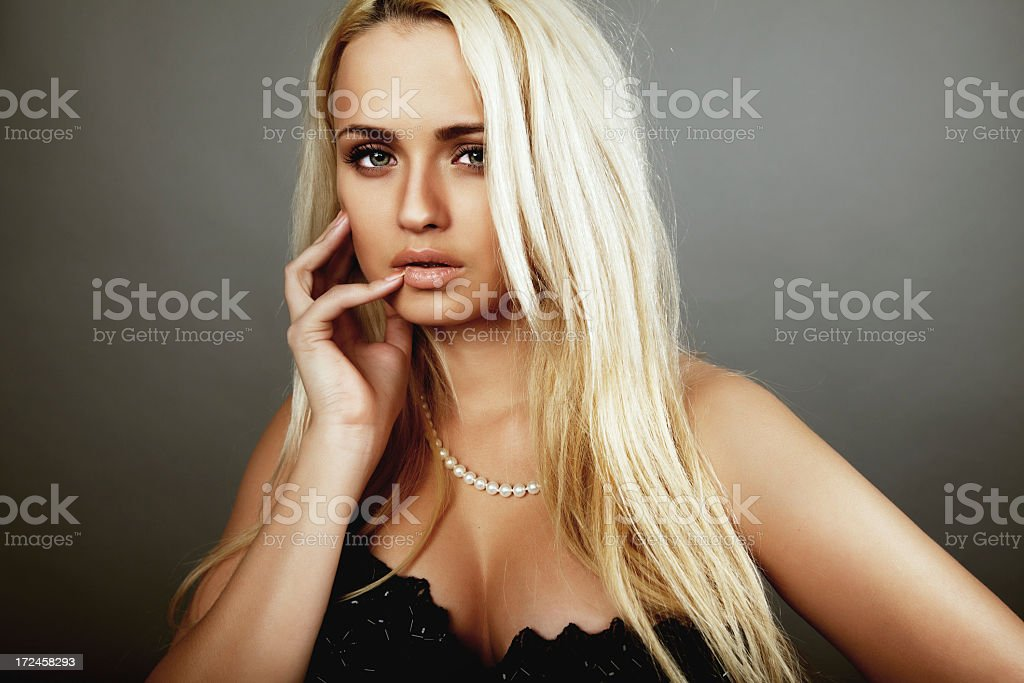 Beautiful blonde with healthy long hair stock photo