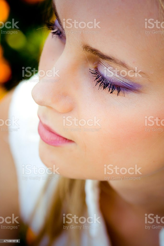 beautiful blonde with perfect skin stock photo