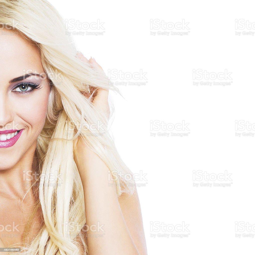 Beautiful blonde woman half portrait royalty-free stock photo