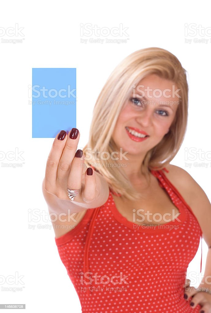 Beautiful blonde woman holding a blue white notecard royalty-free stock photo