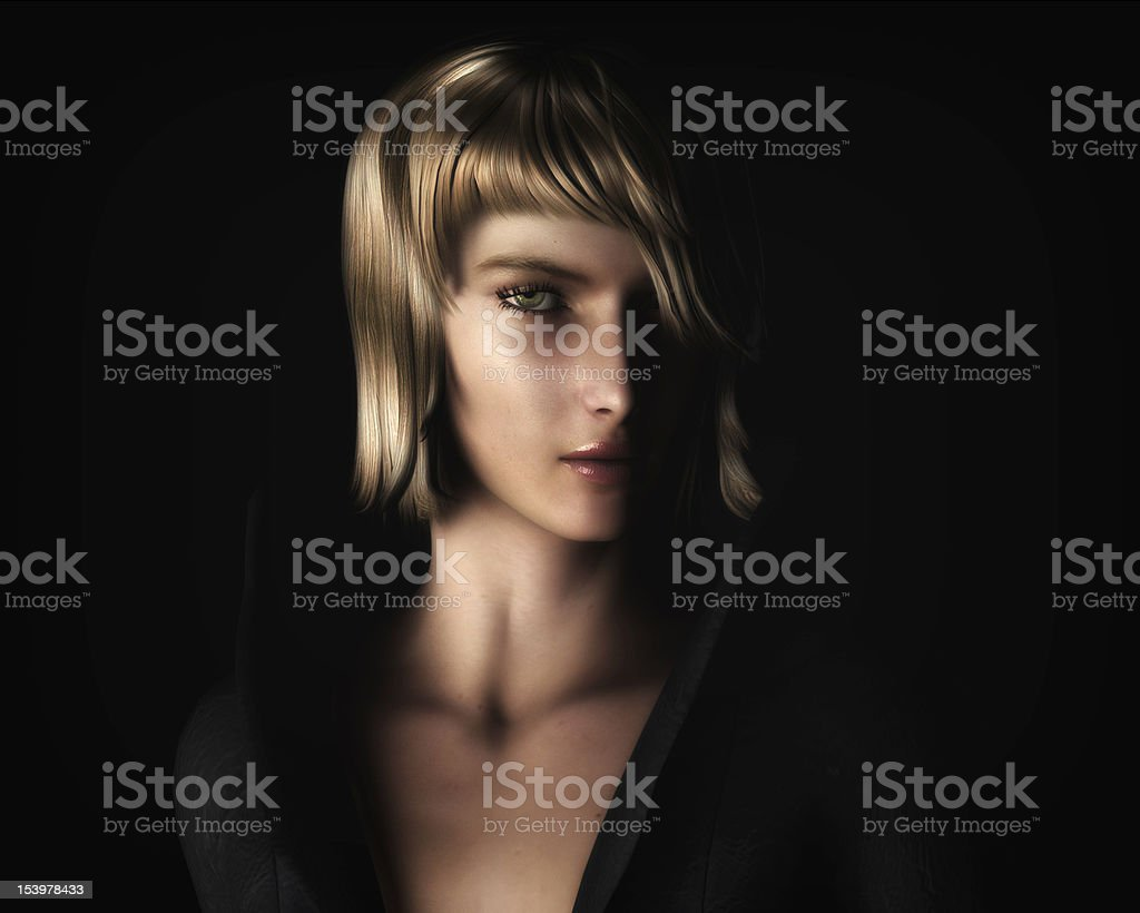 Beautiful Blonde Woman in Chiaroscuro Style Light stock photo
