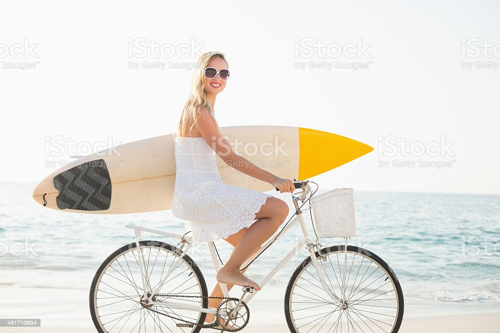 beautiful blonde woman on a sunny day stock photo