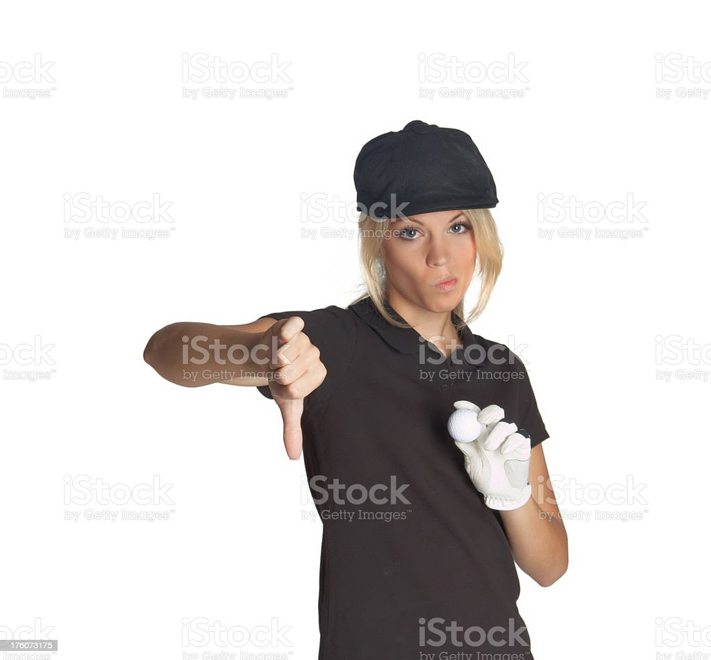 beautiful blonde woman with golf ball and thumbs down royalty-free stock photo