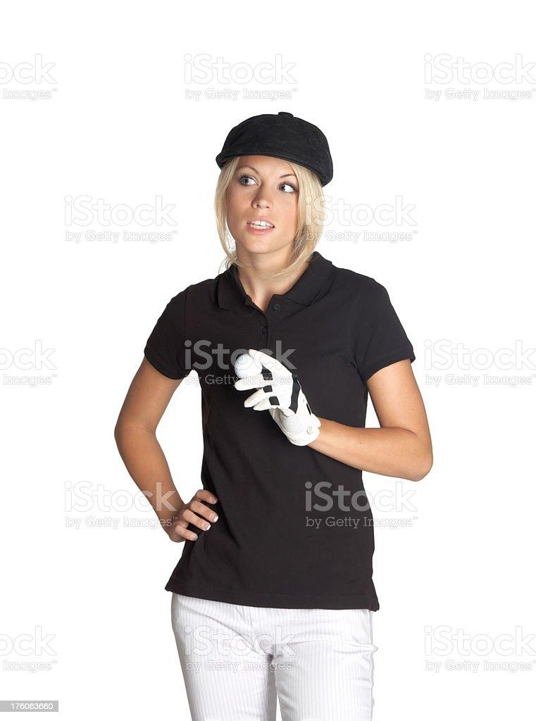 beautiful blonde woman with golf ball stock photo
