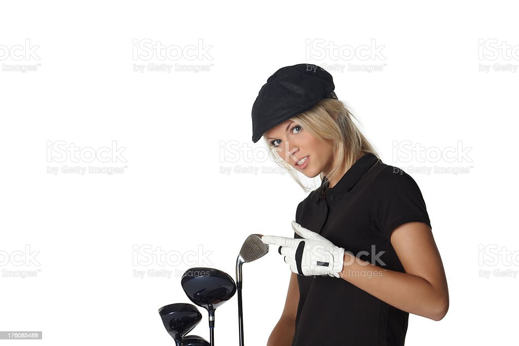 beautiful blonde woman with golf equipment royalty-free stock photo