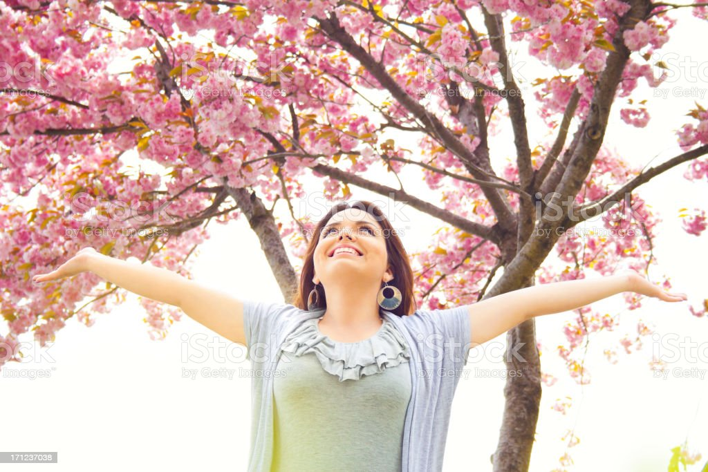 Beautiful Blossom Spring Girl stock photo