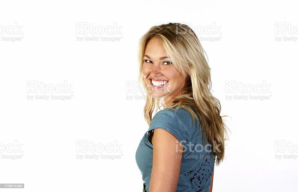 Beautiful Blue Blonde Girl Happy White Teeth stock photo