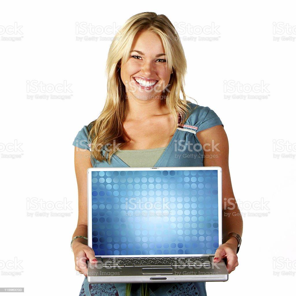 Beautiful Blue Blonde Happy Girl Laptop Technology stock photo