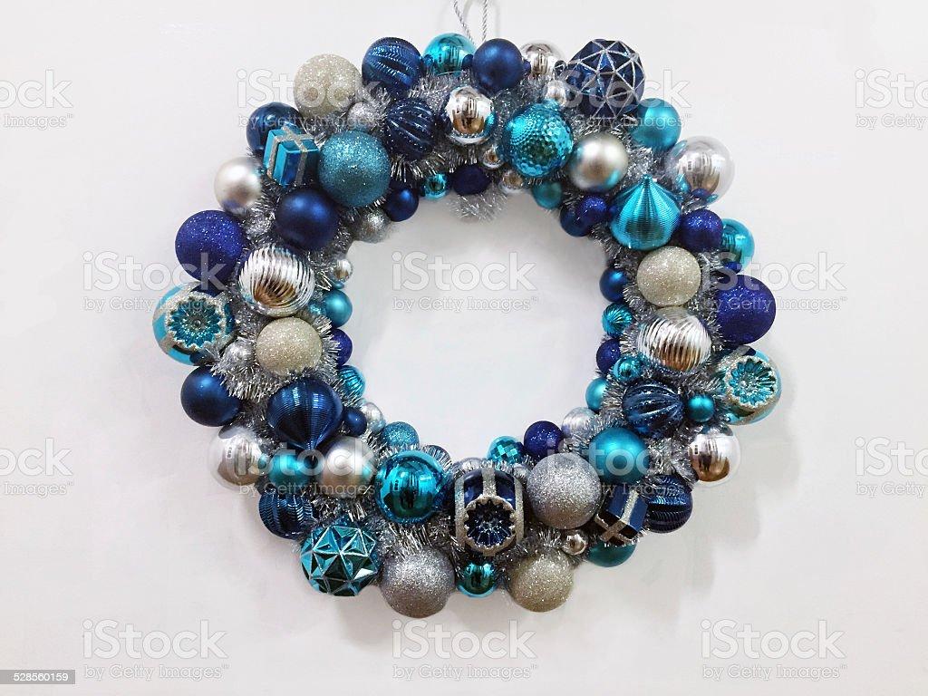 Beautiful Blue Christmas Wreath stock photo