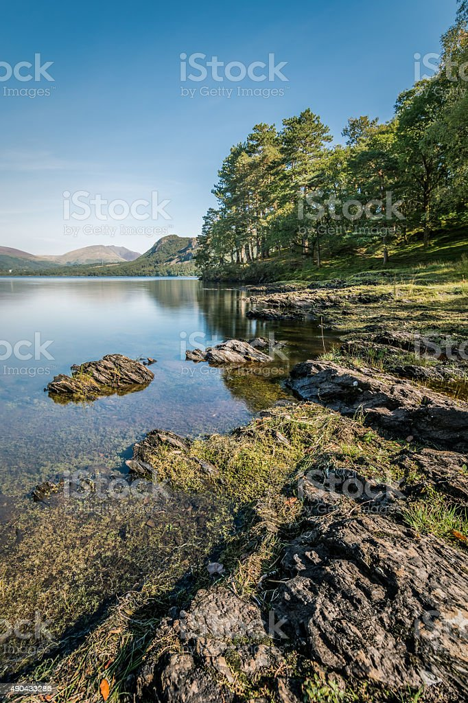 Beautiful Blue Clear Sky At Derwentwater With Rocks In Foreground. stock photo
