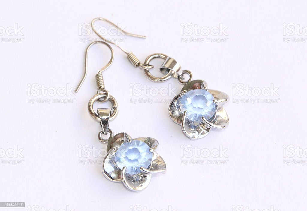 Beautiful Blue Crystal Earrings royalty-free stock photo