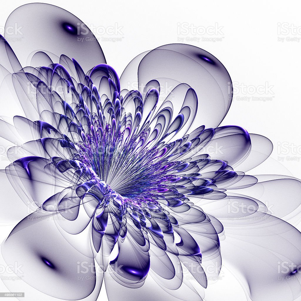 Beautiful blue flower on white background. Computer generated gr stock photo