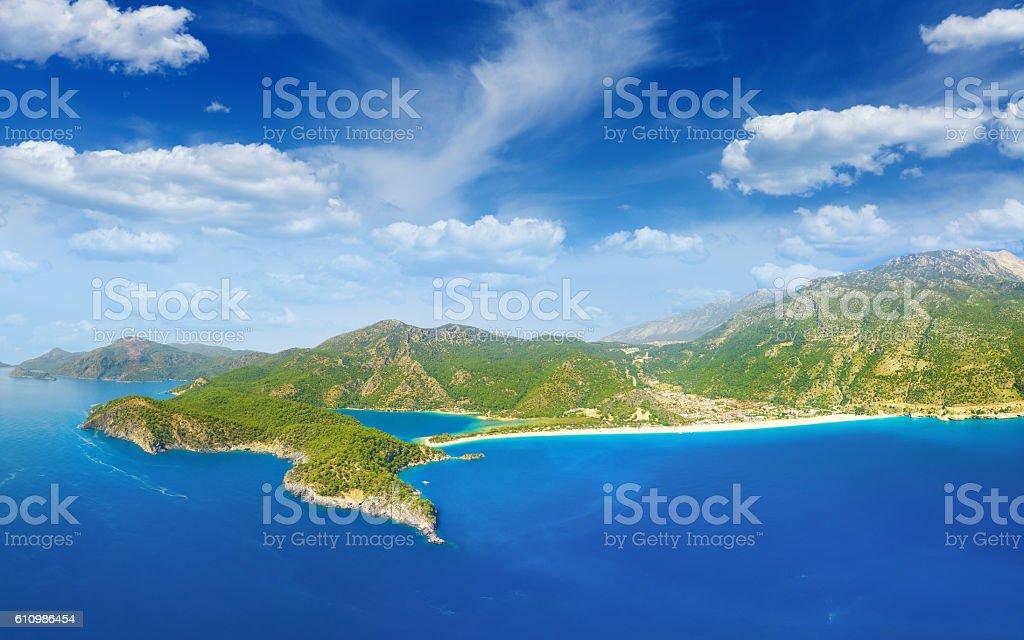 Beautiful blue lagoon and coastline in Oludeniz, Turkey stock photo
