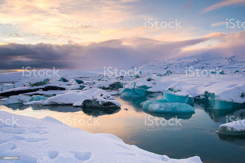 Beautiful blue lagoon Jokulsaron lagoon, Iceland stock photo