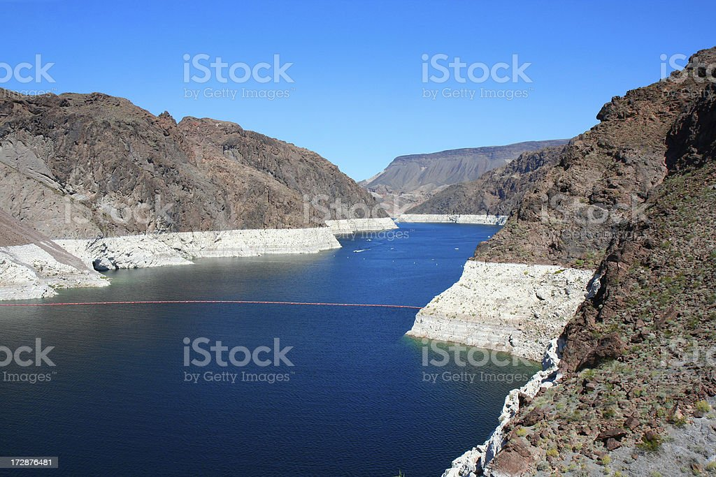 Beautiful Blue Lake Mead - Hoover Dam stock photo