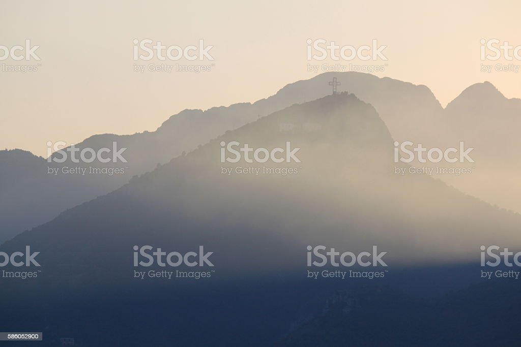 Beautiful blue mountains in the fog. Coast of Salerno, Italy. stock photo