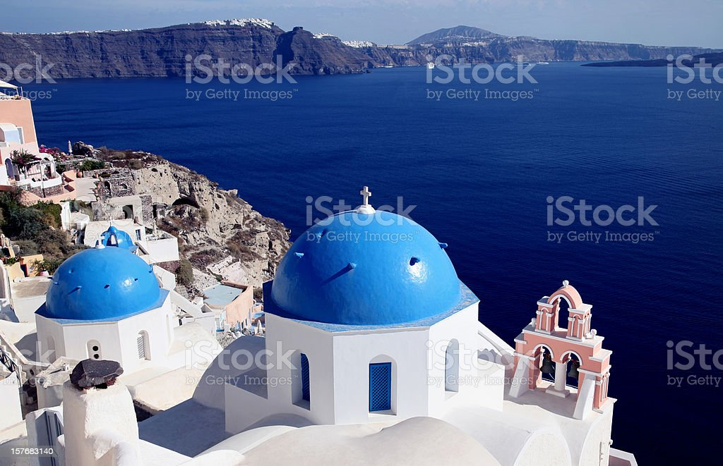 Beautiful Blue Santorini stock photo