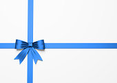 Beautiful Blue Satin Gift Bow On White