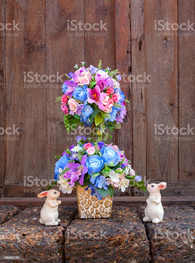 Beautiful blue set flower vase royalty-free stock photo