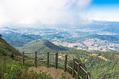 Beautiful blue sky and cloud viewpoint from mountain Thailand