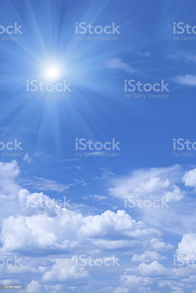 Beautiful blue sky and sun. royalty-free stock photo