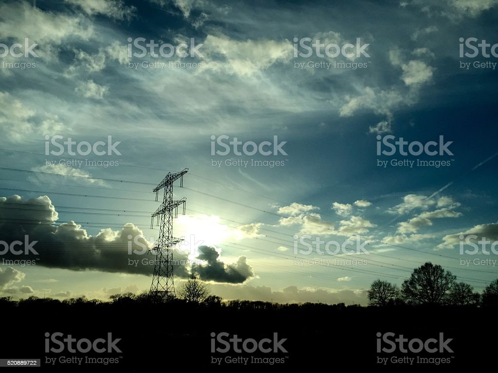 Beautiful blue sky and sunset with white and colorfull clouds stock photo