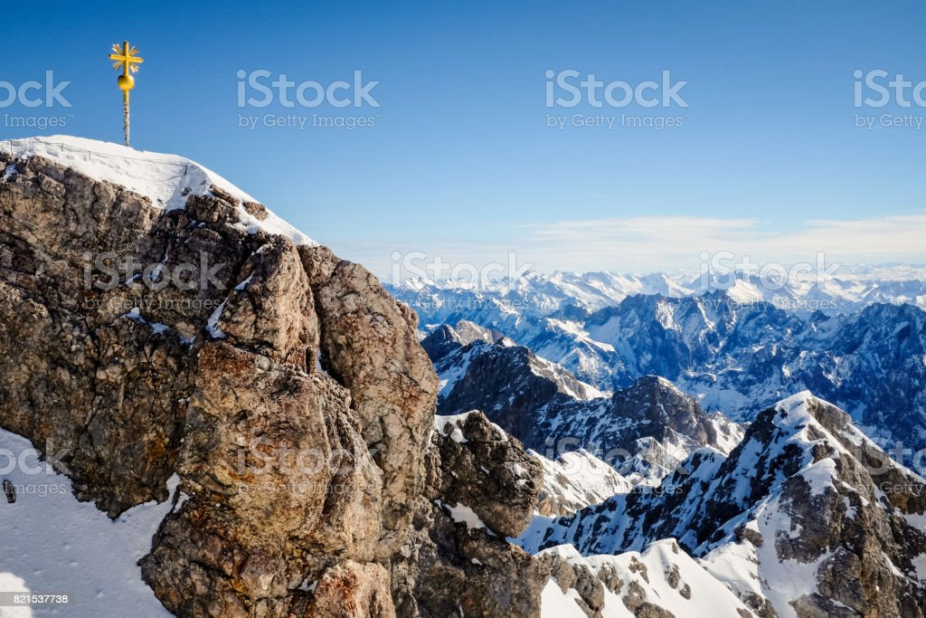 Beautiful Blue Sky at Zugspitze, Germany. stock photo