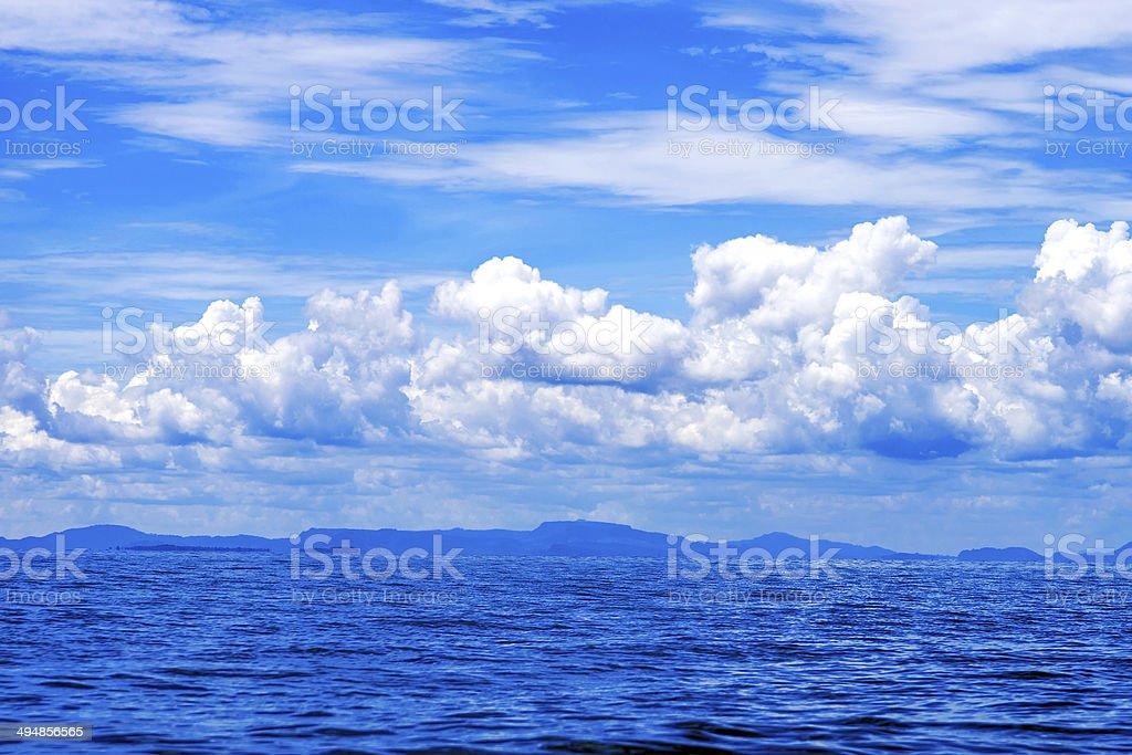 Beautiful blue sky sea view stock photo