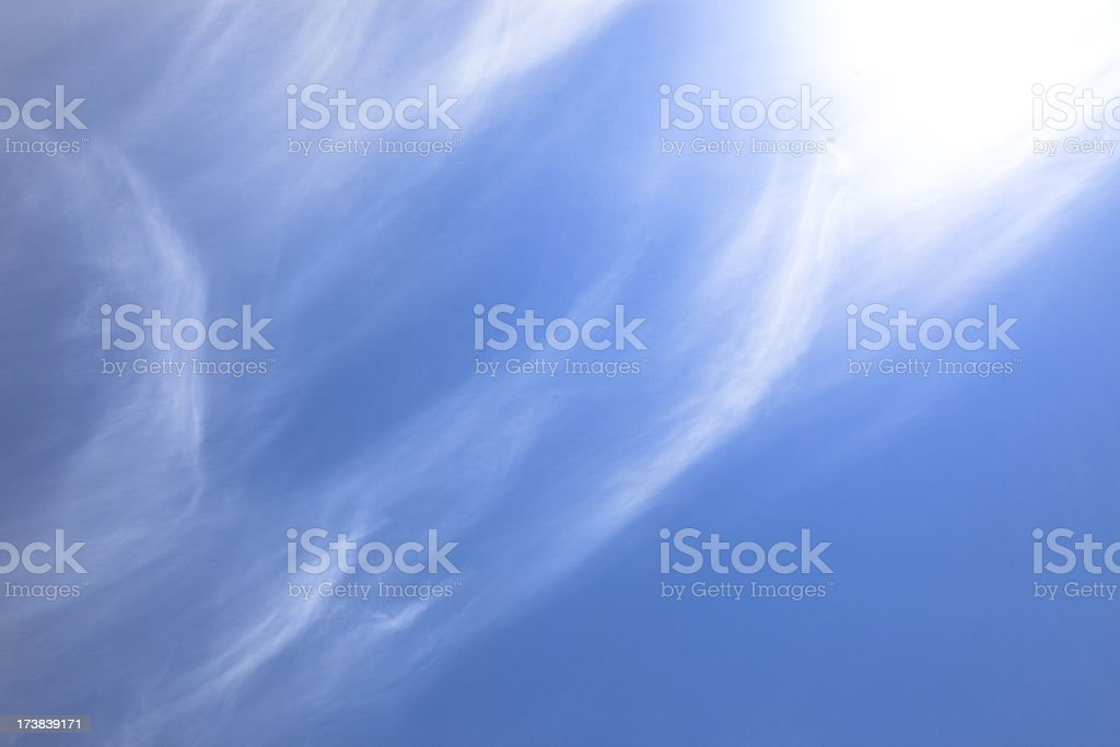 Beautiful blue sky with white wispy clouds (XXXLarge) royalty-free stock photo