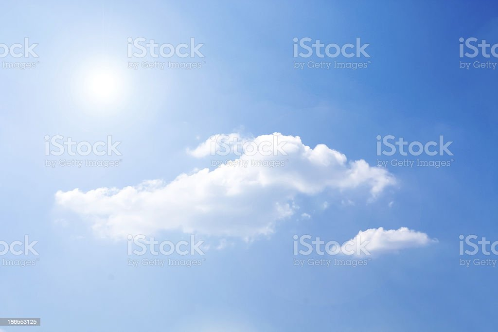 beautiful blue-sky with clouds and sun royalty-free stock photo