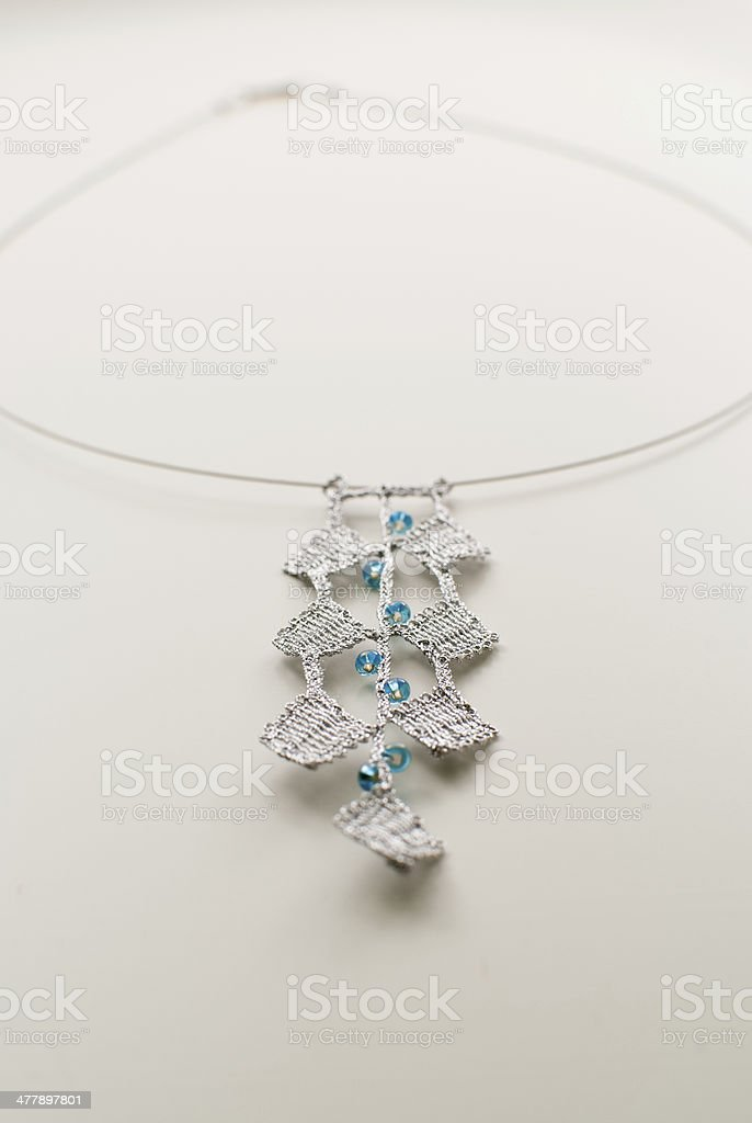Beautiful bobbin lace necklace stock photo