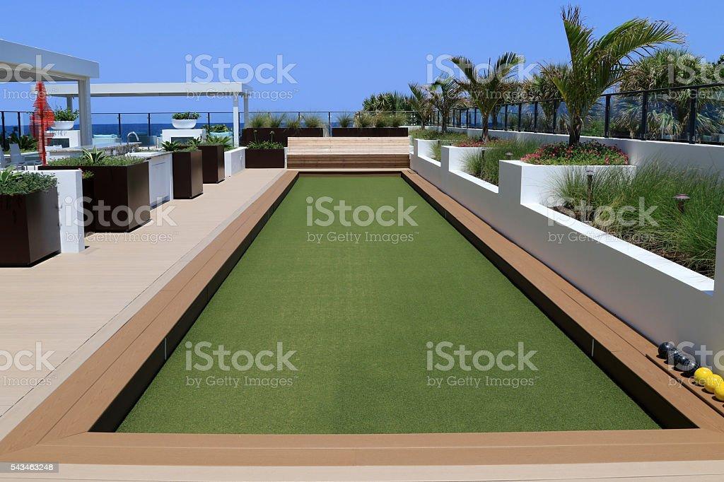 Beautiful bocce ball court stock photo