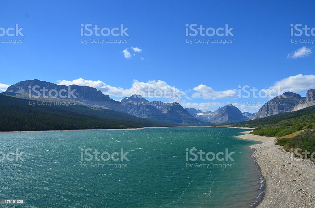 Beautiful Body of Water and Mountains at Glacier National Park stock photo